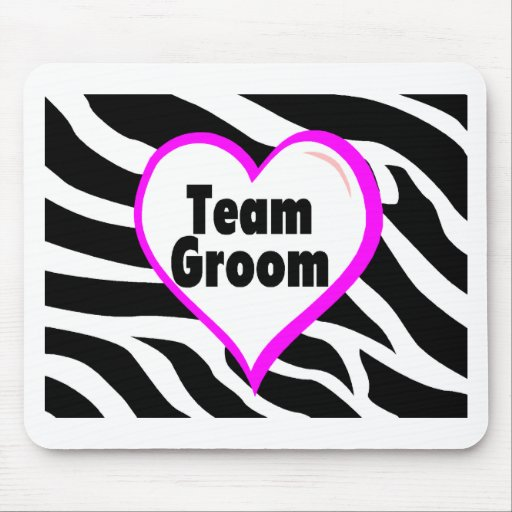 Team Groom (Heart Zebra Print) Mousepad