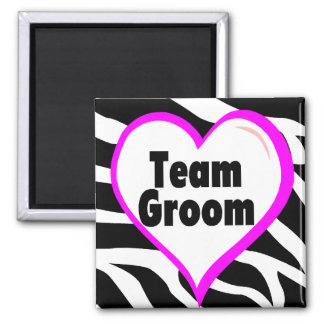 Team Groom (Heart Zebra Print) Square Magnet