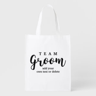 Team Groom Modern Wedding Favors for Groomsmen Reusable Grocery Bag
