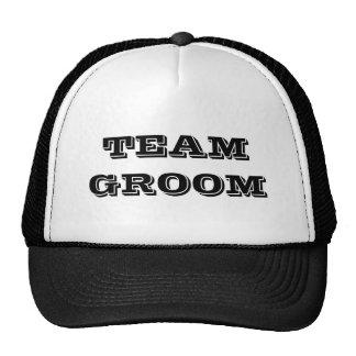 Team Groom Text Hats