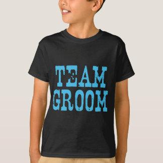 Team Groom Western Blue on Black T-Shirt