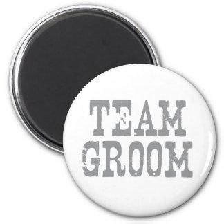 Team Groom Western Grey 6 Cm Round Magnet