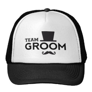 Team Groom with hat and mustache