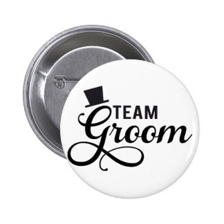 Team Groom with hat, text design for t-shirt 6 Cm Round Badge