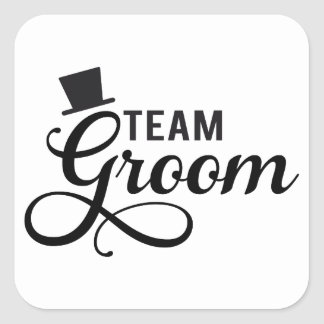 Team Groom with hat, text design for t-shirt Square Sticker
