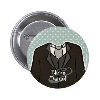Team Groom (with Names) custom wedding favor BLUE 6 Cm Round Badge