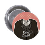 Team Groom (with Names) custom wedding favour PINK Badges