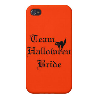 Team Halloween Bride with black cat iPhone 4 Covers