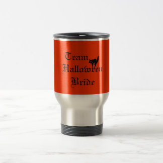 Team Halloween Bride with black cat Travel Mug