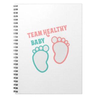 Team Healthy Baby Gender Reveal Girl Boy Blue Pink Notebooks