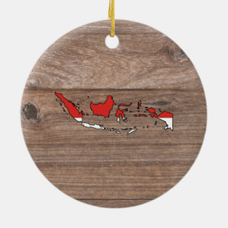 Team indonesia Flag Map on Wood Ceramic Ornament