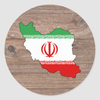Team iran Flag Map on Wood Classic Round Sticker