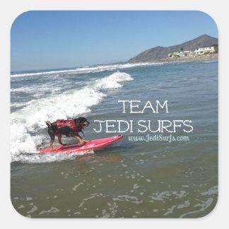 Team Jedi Surfs Line Square Sticker