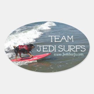 Team Jedi Surfs Line Oval Sticker