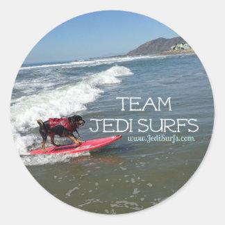 Team Jedi Surfs Line Round Stickers