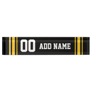 Team Jersey with Custom Name and Number Desk Nameplates