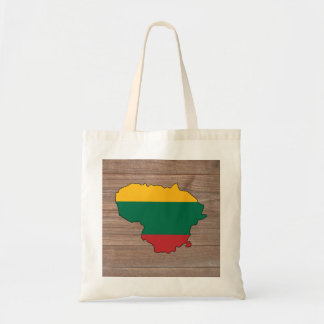 Team lithuania Flag Map on Wood Tote Bag