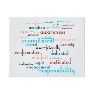 Team Motivation Word Cloud Customizable Background Canvas Print
