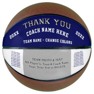 Team Photo, Player's Names Basketball Coach Gifts