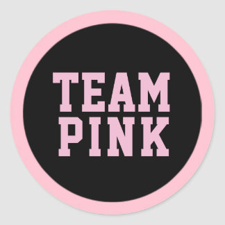TEAM PINK Gender Reveal Baby Shower Game Labels Round Sticker