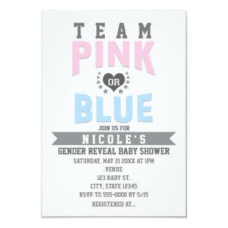 Team PINK or BLUE Gender Reveal Baby Shower 9 Cm X 13 Cm Invitation Card