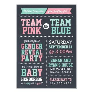 Team Pink or Team Blue Chalkboard Gender Reveal 13 Cm X 18 Cm Invitation Card