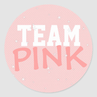Team Pink Polka Dot & Stars Round Sticker
