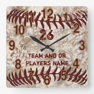 Team, Player's NAME, NUMBER Dirty Baseball Clocks
