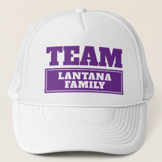 Team purple personalized team name or family name trucker hat