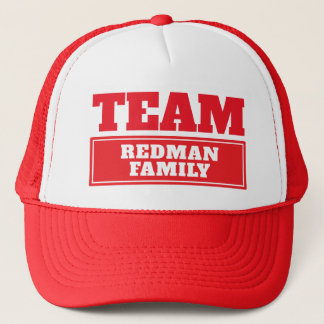 Team red personalized team name or family name trucker hat