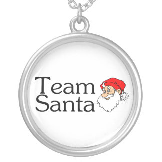 Team Santa Santa Silver Plated Necklace