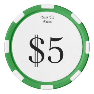 Team Six (Funny Casino Money) $5 Casino Coin Poker Chips
