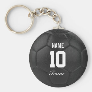 Team Soccer Ball Personalized Name Basic Round Button Key Ring