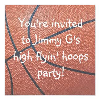 Team Spirit_Basketball texture Birthday party 13 Cm X 13 Cm Square Invitation Card