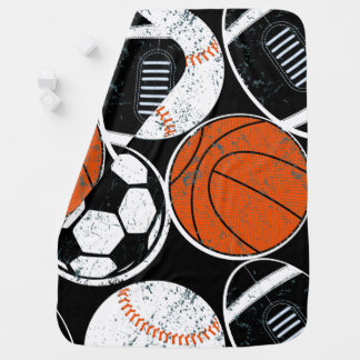 Team sport balls baby blanket