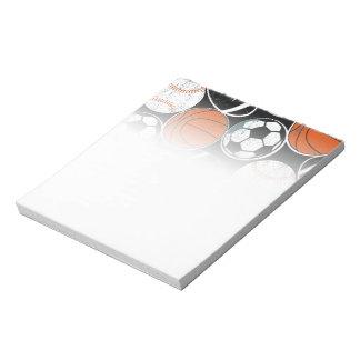 Team sport balls notepad