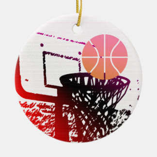 Team Sports Ball Basketball Net Coach Game Ceramic Ornament