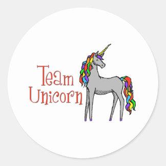 Team Unicorn Rainbow Round Sticker
