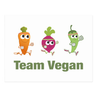 Team Vegan! Running Veggies Postcard