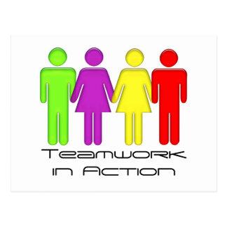 Team work coming together postcard