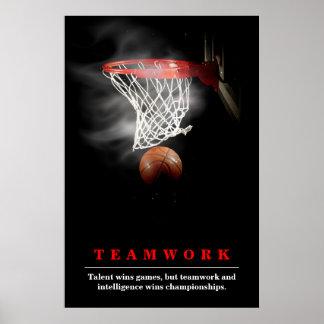 Teamwork Basketball Motivational Inspirational Poster