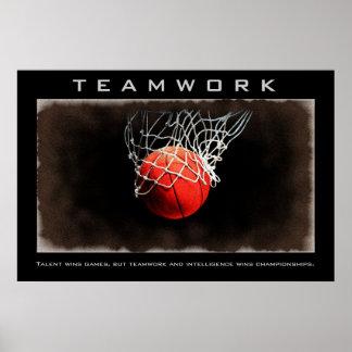 Teamwork Basketball Motivational Poster