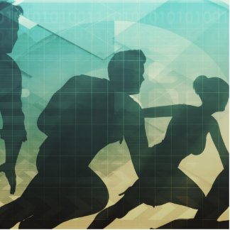 Teamwork Concept with Silhouette of Business Team Photo Sculpture Decoration