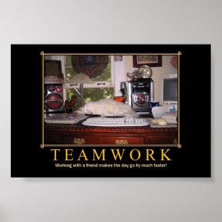 Teamwork Desk Kitty Mini Poster