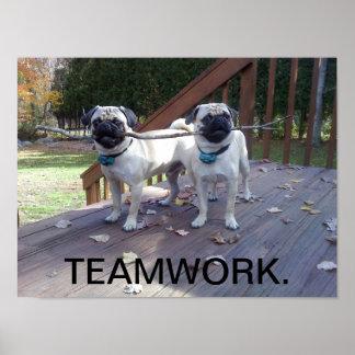 Teamwork Poster! Pugs working together! Poster