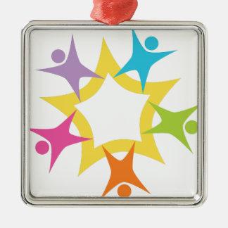Teamwork Starburst Square Metal Christmas Ornament