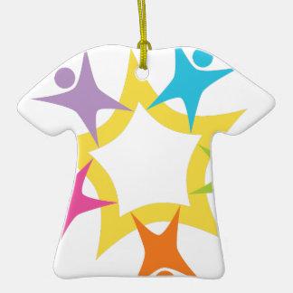 Teamwork Starburst Double-Sided T-Shirt Ceramic Christmas Ornament