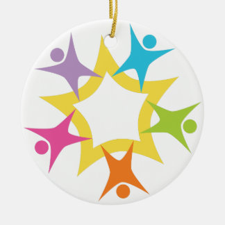 Teamwork Starburst Double-Sided Ceramic Round Christmas Ornament