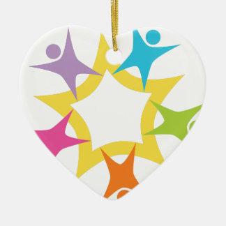 Teamwork Starburst Double-Sided Heart Ceramic Christmas Ornament