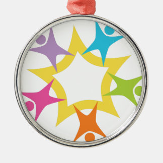 Teamwork Starburst Round Metal Christmas Ornament